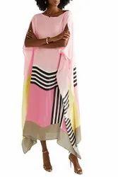 Beach Wear Women's Satin Silk Printed Calf Length Kaftans