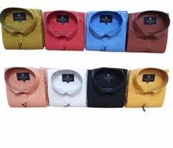 Collar Neck Mens Plain Formal Cotton Shirts, Handwash
