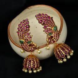 Brass (base) Party Wear Cubic Zirconia Pota Peacock Jhumka Earrings