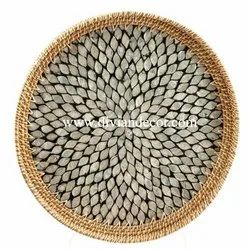 Rattan Mother Of Pearl Tray