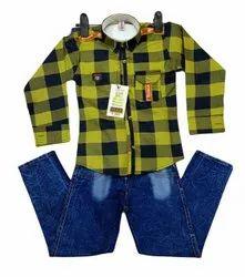 Cotton Stretchable Boys Check Shirt Jeans Set, Handwash