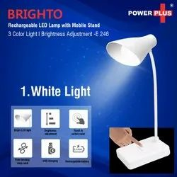 E246 Brighto Rechargeable LED Lamp With Mobile Stand 3 Color Light Brightness Adjustment