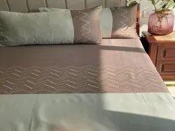 Chevron Khakhi Sage Green Embroidered Bedsheet