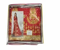 Embroidered Designer Party Wear Red Georgette Saree, Machine wash, 6 m (with blouse piece)