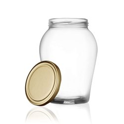 Round Transparent Metal Lug Cap 1000ml Matki matka Glass Jar
