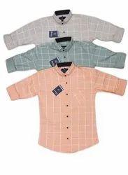 Checked Collar Neck Mens Casual Check Cotton Shirts