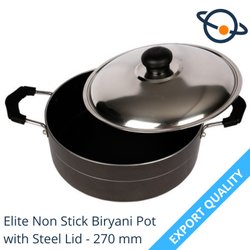 1 Piece Black Elite Non Stick Biryani Pot With Steel Lid - 270 Mm, For Home