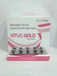 Vitlic-Gold Methylcobalamin, Folic Acid, Pyridoxine HCI, DHA Softgel Capsules