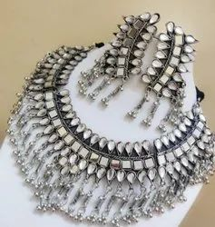 Ladies Mirror Work Necklace Set, Occasion: Party