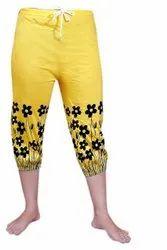 Hosiery Ladies Yellow Printed Capri