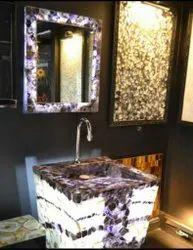 Designer Semi Precious Stones Inlay Wash Basin Set, For Bathroom