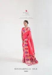 Pure Soft Silk Handloom Print Saree -6 Pcs Set