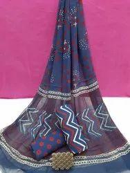 Exclusive Natural Bagru Ajrakh Hand Block Printed Cotton Dress Material With Chiffon Dupatta.