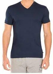 Half Sleeve Plain Men V Neck Cotton T Shirt