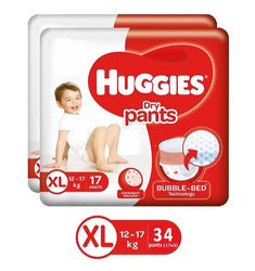 Pant Diapers Huggies Dry Pants, Size: XL, Packaging Size: 17 Pieces