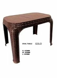 Gold 450x400x600 Mm Oval Shape Plastic Table