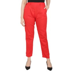 Red Ladies Casual Poplin Cotton Pant
