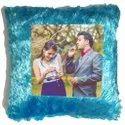 Blue Fur Sublimation Cushion Square