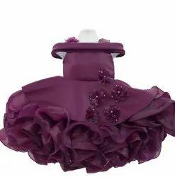 Purple Satin Girls Designer Cock Frock, 2-5 Years