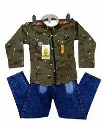 Olive Green Printed Boys Full Sleeve Shirt Jeans Set