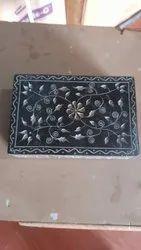 Black Marble Engraved Jewellery Box, Shape: Rectangular