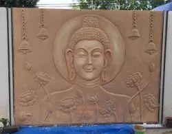 Cement Buddha Wall Mural Art For Home Decor