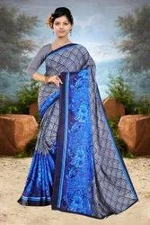 Casual Wear Blue Renial Printed Saree, 6 m (with blouse piece)