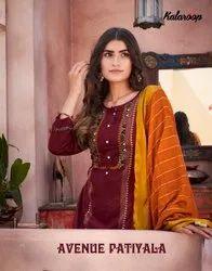 Kalaroop Avenue Patiyala Flex Rayon With Embroidery Readymade Suit Catalog