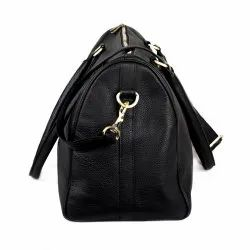 Black Solid Leather Duffle Bag, For Travel