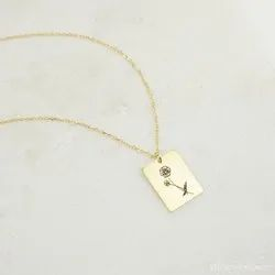Floral Tag Necklace