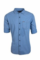Denim Shirts For Men Single Pocket Collar Neck