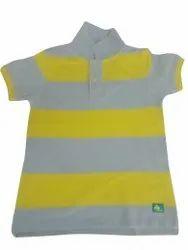 Cotton/Linen Polo Neck Mens Collar T Shirts, Size: Large
