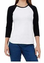 Women Raglan Cotton T Shirt : Full Sleeve