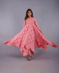 Pink Embroidered Heavy Fashion Dresses, Size: S To Xxl