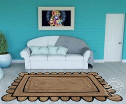 NATURAL + INDIGO Scallop Jute Braided Rugs,Home Decor Modern Hand Stitched Carpets