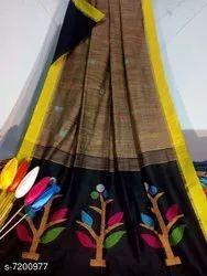 Handloom Tree Design Cotton Silk Saree With Blouse Price, Handwash, Hand Made