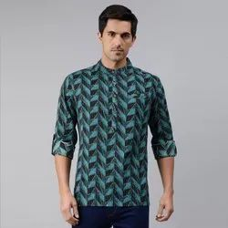 Janasya Men's Teal Cotton Kurta(MEN5016)