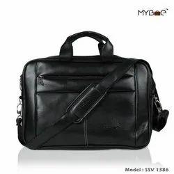 Black PU Leather Office Laptop Bag ( Model SSVAL 1386)