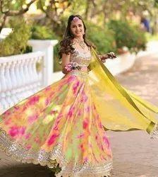 Present Heavy Satin Multicolour Lahnega Choli