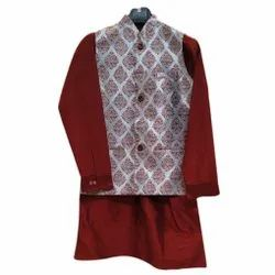 Party Wear Silver Bock Printed Indo Western Suit