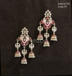 Fusion Arts Meenakari Chandbali Kundan Earrings