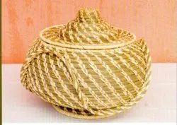 Round Natural Handicraft Sabai Sea Kauna Grass Basket With Lid