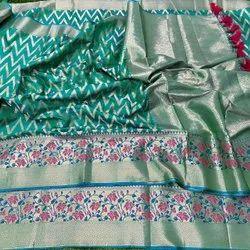 Tasarika Weaving Litchi Silk Green Saree, 6.3 m
