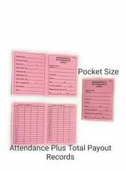 Pink Cardboard Attendance Card Printing Services, Location: Pan India