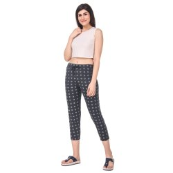 Cotton Printed Ladies Black Pajama, Free Size