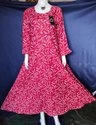 Red Ladies Party Wear Rayon Printed Gown