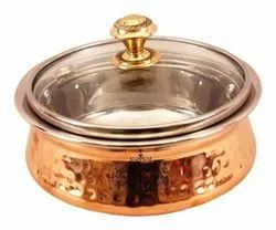 Steel Copper Serving Handi with Glass Lid Serving Dishes - 400 ML For Home