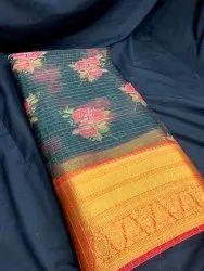 Rayon Green Digital Printed Big Border Organza Fabric, Width: 44 Inch