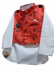 White And Red Cotton Blend Kids Modi Dress Costume