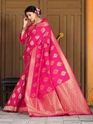 Ladies Pink Silk Saree, With blouse piece, 5.5m